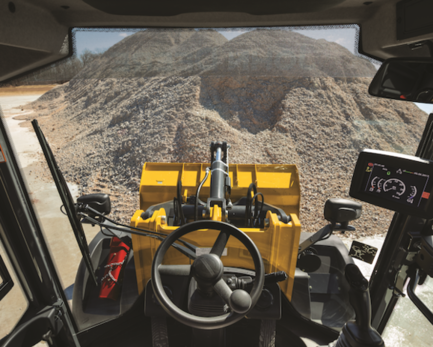 Operator's view from inside the cab of a 344L Wheel Loader
