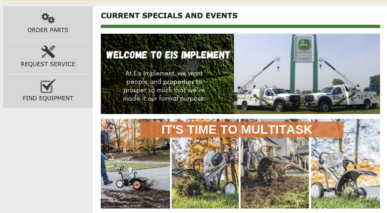 Screenshot of EIS Customer Portal